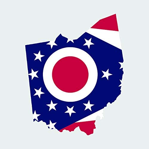 "4/"" Ohio Flag Sticker Decal Self Adhesive Vinyl state buckeye OH"