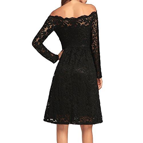 Dissa Hw662 Femmes Manches Longues Vintage Bustier Robe De Soirée D'été Midi Cocktail Noir