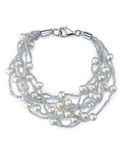 4mm Bracelet Perle de culture d'eau douce blanc et coton