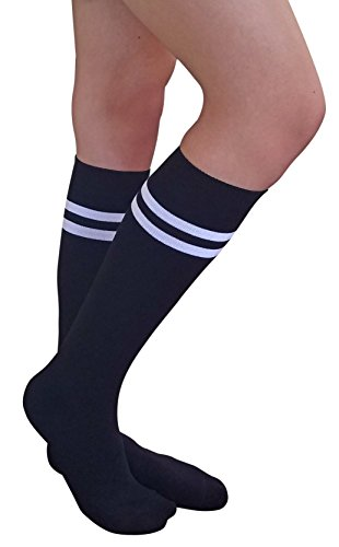 (AM Landen Women's Casual Black with Two White Stripes Knee High Socks Girls socks)