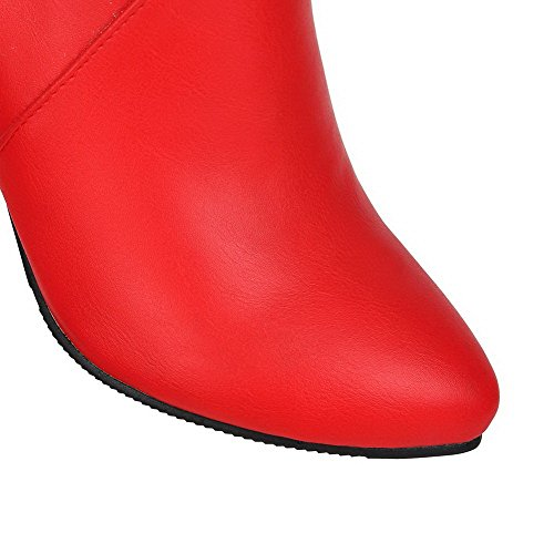Zipper Boots Pu Toe Spikes Low Closed Stilettos Red WeenFashion Women's Pointed Top 5qvUxw54O