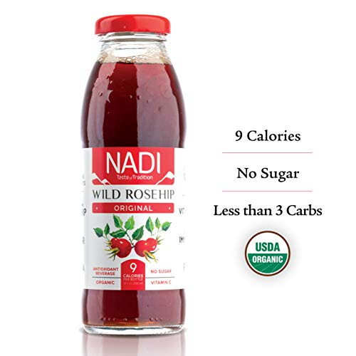 NADI Organic Wild Rosehip Juice, Antioxidant Drink, Fruit & Herbal Tea, Great Immune System Booster, Rich in Vitamin C, Sugar Free - ZERO SUGAR - Only 9 Calories, Low Carb, Keto, 10 oz, pack of 12