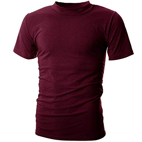 UUANG Men's Solid Basic Jersey High Neck Causal Undershirts Tee (Burgundy,XL)