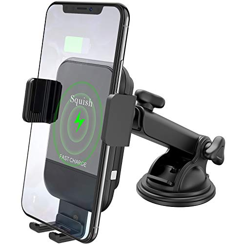 Squish Wireless Car Charger Mount, 10W 7.5W Qi Fast Wireless Charger Car Phone Mount Automatic Dashboard Windshield Compatible with iPhone Xs Max/XS/XR/X/8Plus/8 Samsung S10/S9/S9+/S8/S8+/Note9/Note 8