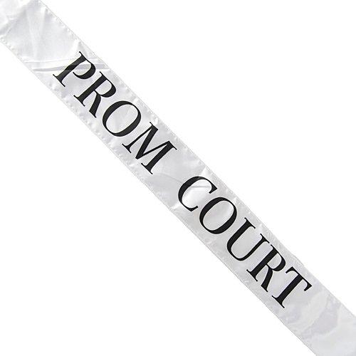 White Satin Prom Court Sash -
