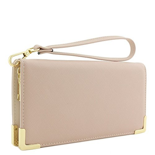 Faux Saffiano Leather Wallet Wristlet with Gold Hardware Edges (Blush)