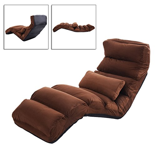 Brown Folding Lazy Sofa Bed Couch Seat With Adjustable In Every Connection And Pillow TSE080A