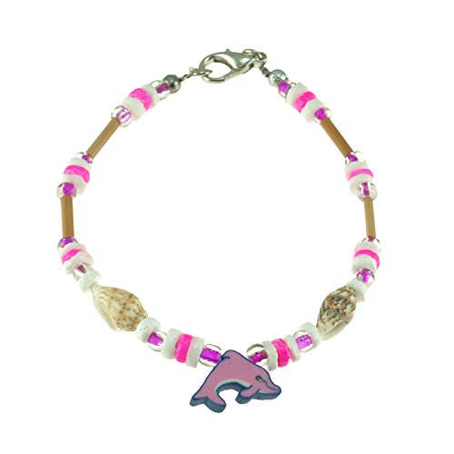 Nassa Tiger (Fimo Dolphin on Puka Clam & Tiger Nassa Shells Beaded Bracelet with Wood Tube Beads& Glass Beads (Pink))