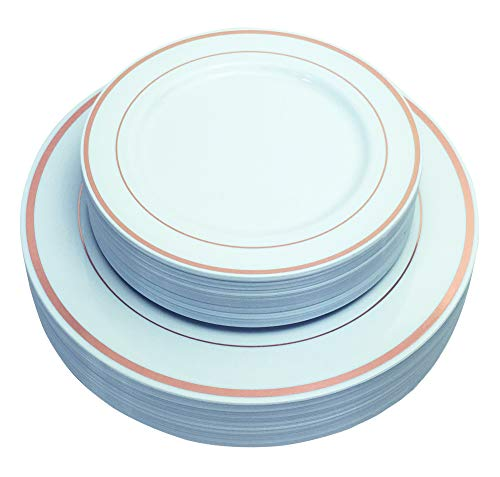 JL Prime 50 Piece Rose Gold Plastic Plates for 25 Guests, Heavy Duty Reusable Disposable Plastic Plates with Rose Gold Rim for Party and Wedding with Dinner & Salad/Dessert Plates - Dinner Gold Plate Band