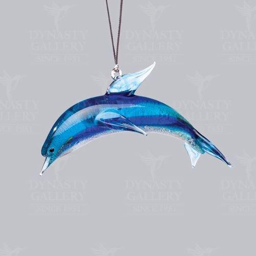 Glassdelights Blue Dolphin Glass Christmas Tree Ornament Ocean Sea Life - Dolphin Lampwork Glass