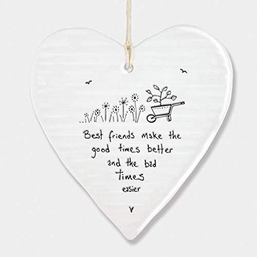 East Of India Porcelain Hanging Heart 'Best Friends Make The Good Times' Gift