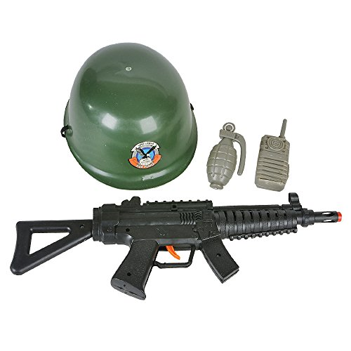 Rinco Halloween Army Soldier 4pc Child Costume Accessory Set, Green Black - Toy Soldier Green Costume