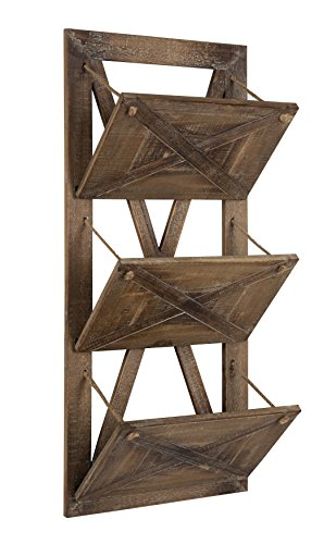 (Kate and Laurel Hardeman 3 Pocket Farmhouse Wood Hanging Wall File Holder, Rustic)