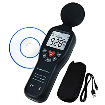 Data Logging Function Sound Level Decibel Meter with Backlight Display High  Accuracy Measuring 30dB~130dB Instrument Compact Professional (with CD