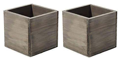 Wood Flower Plants Box Pot - 5
