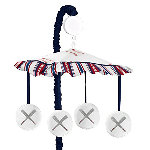 (Sweet Jojo Designs Red, White and Blue Musical Baby Crib Mobile for Baseball Patch Sports Collection )
