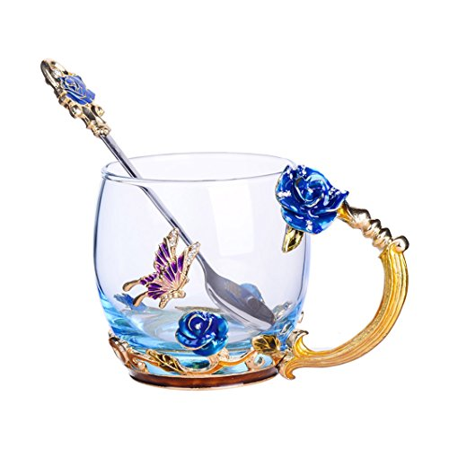 Tea Cup Coffee Mug Cups, 2018 Handmade Butterfly Rose,13 oz (Blue Rose) Ideal for Friend Wedding Anniversary Birthday Presents ()