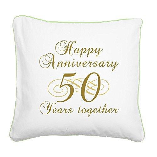 (CafePress - 50Th Anniversary (Gold Script) Square Canvas Pillo - 20