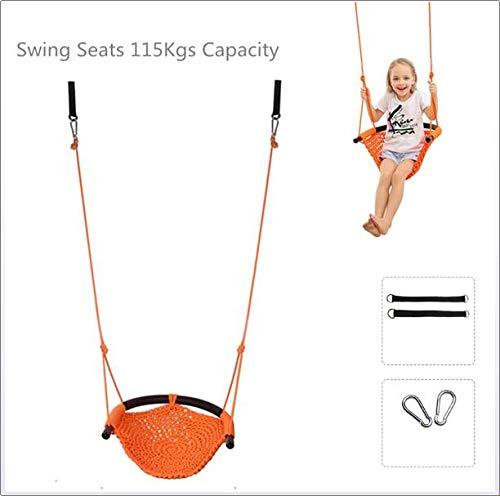 SVNA Schaukelsitz für Kinder Hochleistungs-Seilspielsichere Kinderschaukel, perfekt für Innen-, Außen-, Spielplatz-, Heim-, Baum-, mit Karabinerhaken und Schaukelgurten,Orange