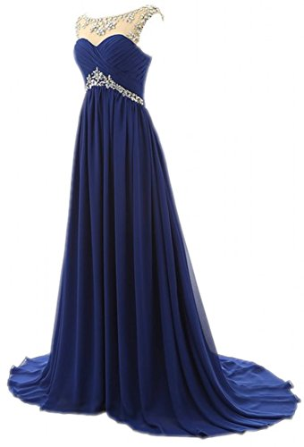 Prom Strapless Chiffon Beading Long Women's Bridesmaid Light Olidress Blue Dresses fqwxOq