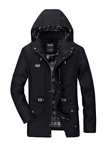 Minetom Men's Spring Autumn Warm Zipped Hooded Jacket Tops Casual Long Sleeve Thicken Lined Trench Coat Parka Outerwear A- Black
