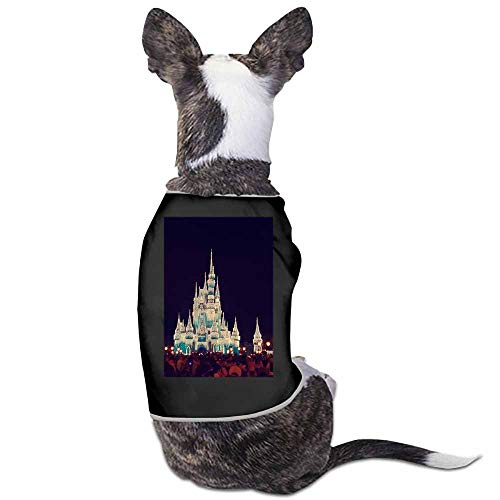 Dog Pet Winter Outfit Shirt,Blue Castle Disney Land Mickey Minnie Night Time People Christmas Apparel for Dogs Puppies Cats(Black)-L