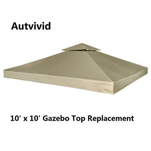 10 Garden Party Gazebo (Autvivid 10' x 10' 2-Tier Waterproof Sun Shade Gazebo Top Replacement UV 30 Gazebo Cover Canopy Carport Awning Roof Top Cover for Outdoor Garden House Party Camping Picnic Bivouac (Beige))