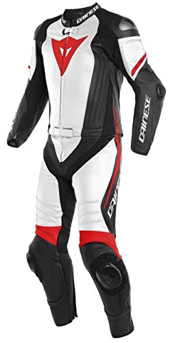 (LEATHERAY Men's Fashion Motorbike Dainese Real Leather Two Pieces Suit with Armor Protection Black)