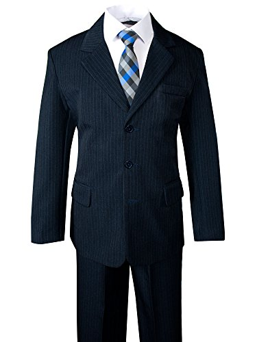 Spring Notion Big Boys' Pinstripe Suit Set Navy-Blue Checkers 6 - Lined Pinstripe Suit