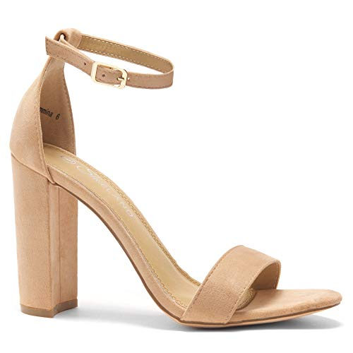 Herstyle Rosemmina Womens Open Toe Ankle Strap Chunky Block High Heel Dress Party Pump Sandals. Blush 10.0