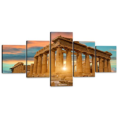Modern Painting on Canvas Parthenon Temple on the Acropolis of Athens,Greece Islamic Wall Art Home Decor for Living Room Pictures 5 Panels HD printed Painting Framed Ready to ()