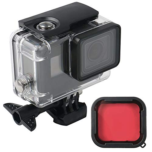 Waterproof 196 FT Transparent Underwater Housing Case with Red Filter & 12 pcs Anti Fog Inserts Compatible with GoPro Hero (2018), GoPro Hero 7 Black,GoPro Hero 6, Hero 6 Black, Hero 5, Hero 5 Black