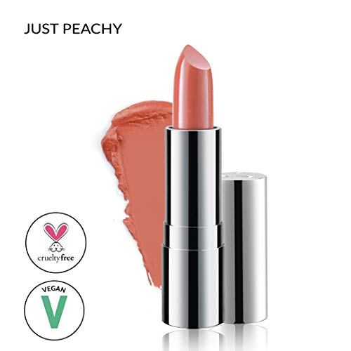 Super Moisturizing Lipstick by Luscious Cosmetics - Unique Smooth & Creamy Formula - Vegan | Cruelty Free | Lead Free | Color - Just Peachy - 0.12 -