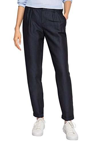 edc by Esprit Mit Buntfalten, Pantalones para Mujer Azul (NAVY 400)