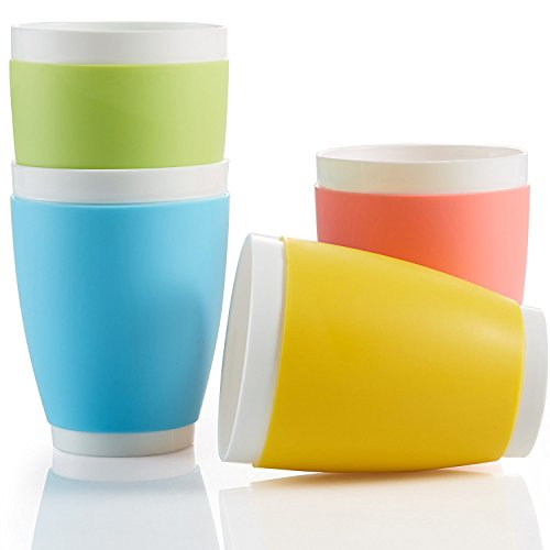 Suner BPA Free Plastic Cups, Red/Yellow/Blue/Green, 14 Ounce