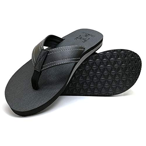 KuaiLu Men's Yoga Mat Leather Flip Flops Thong Sandals with Arch Support Black