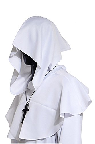 YMING Vintage Medieval Cowl Hat Halloween Hooded Wicca Pagan Cosplay Accessory Unisex (White)