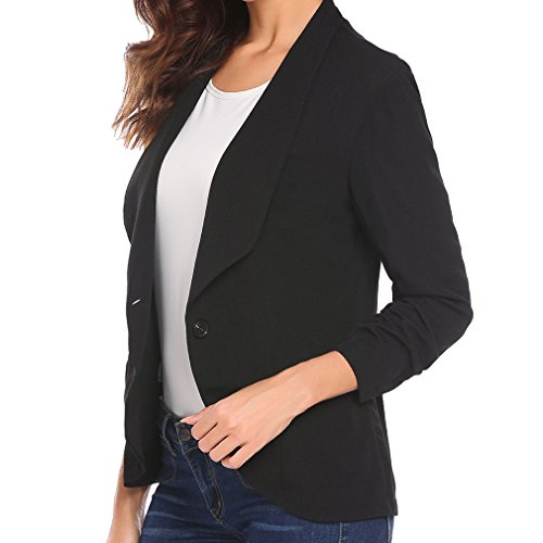 Manteau Costume Blazer Femmes Lady Bureau Button Noir Travail Slim Vestes Blazers et Lady Business Mxssi Onf70q44