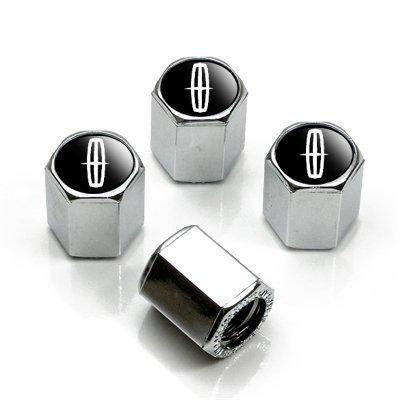 Lincoln Silver Logo Chrome Tire Stem Valve Caps ()