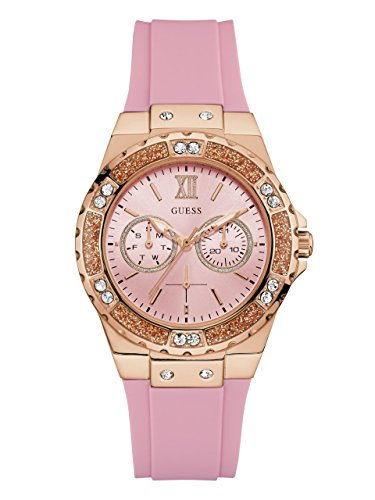 GUESS Women's Quartz Stainless Steel and Silicone Casual Watch, Color:Pink (Model: U1053L3) by GUESS