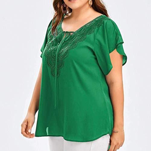 Sciolto Monocromo Estive Pipistrello Prodotto Vintage Donna V Neck Bluse Pizzo Ragazza Plus Camicetta Moda Blouse Magliette Manica Eleganti Giuntura Chic Verde Shirts x77qTvw