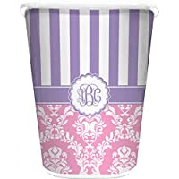 RNK Shops Pink & Purple Damask Waste Basket - Double Sided (White) (Personalized)