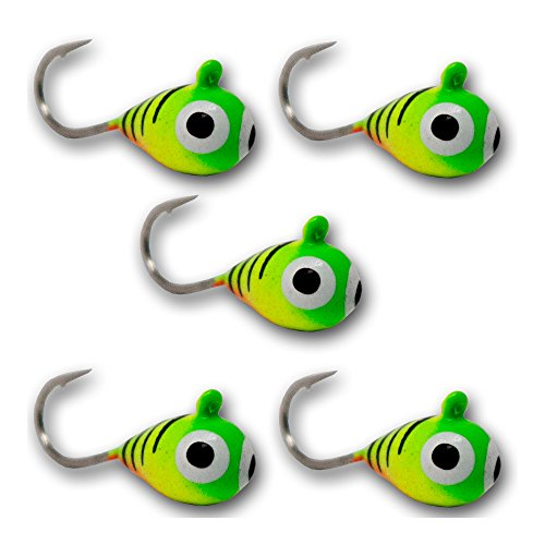 - Tooth Shield Tackle 5 Pack 5mm UV Glow Tungsten Ice Fishing Jigs (Firetiger) Crappie Perch Bluegill Sunfish Trout Jigs
