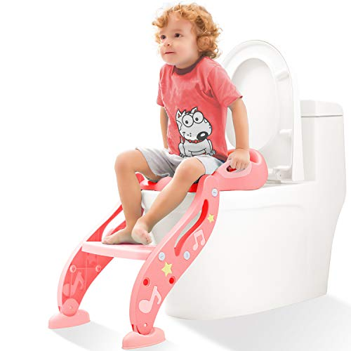 Step Seat Potty Stool - KIDPAR Potty Training Seat for Kids,Adjustable Toddler Toilet Potty Chair with Sturdy Non-Slip Step Stool Ladder, Comfortable Handles and Splash Guard, Easy to Assemble Toilet Seat for Boys and Girls