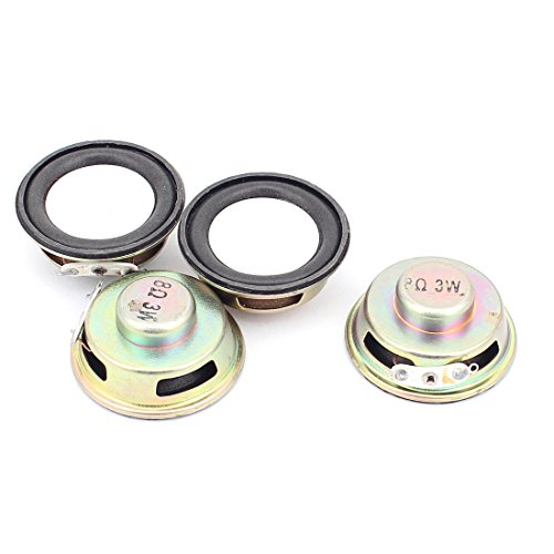 Aexit 4 Pcs 40mm 8Ohm 3W External Magnetic Speaker Loudspeaker Gold Tone by Aexit