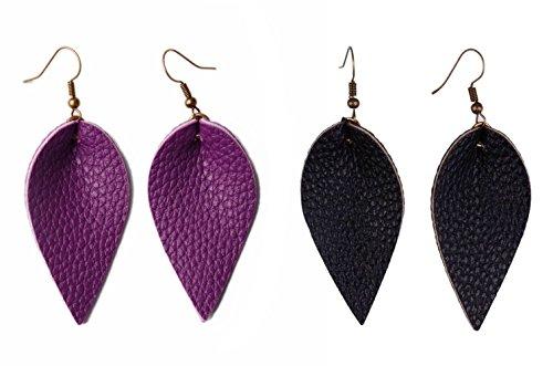 Leather Dangle (L&N Rainbery 2 Pairs Petal Leather Earrings Faux Leather Teardrop Earrings Leaf Drop Earrings (Purple+Black))