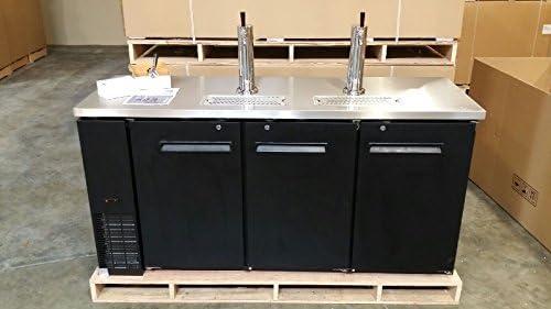 72 Beer Keg Dispenser Kegerator Refrigerator w Stainless Top 2 Taps