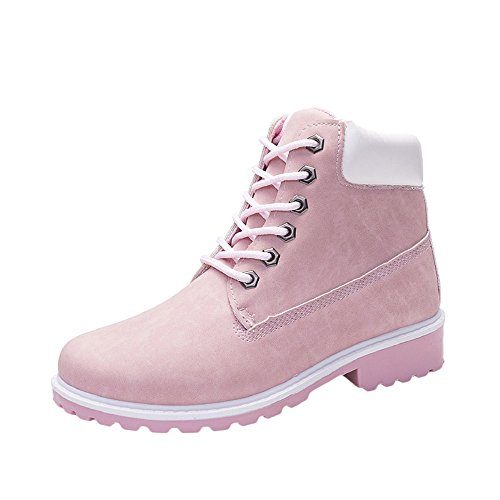 COPPEN Women Boots Retro Solid Ankle Thick Lace-up Short Round Toe Casual Shoes (Pink, 8)