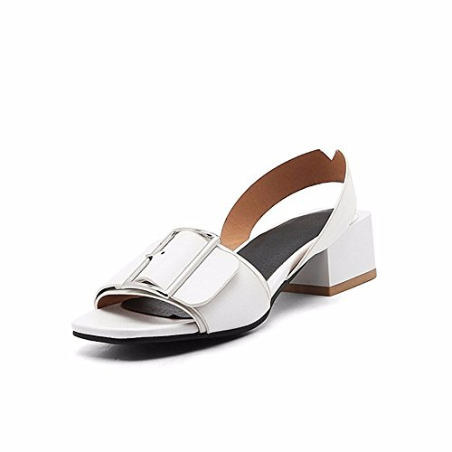 cuadrada zapatos sandalias verano Tamaño de zapatos white y americanos tamaño de metal de hebilla y sandalia mujeres de europeos un wqCXCp6