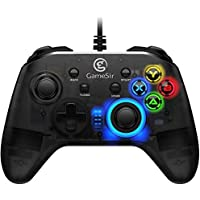 GameSir T4W Game Controller Wired Gamepad for PC Windows 10/8.1/8/7 PS3 Android Dual Shock Gaming Gamepad USB Gamepad with LED Light Joystick Vibration Feedback Turbo and Trigger Buttons